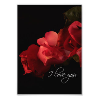 "Red and Pink Roses ""I love you"" Photo Print"