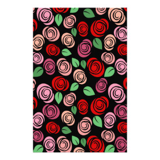 Red and pink roses personalized stationery
