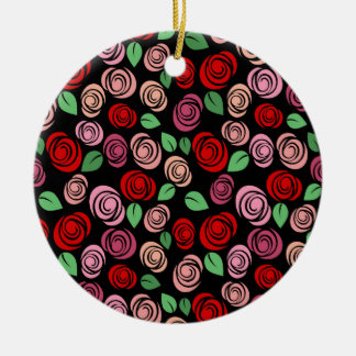 Red and pink roses round ceramic decoration