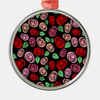 Red and pink roses Silver-Colored round decoration