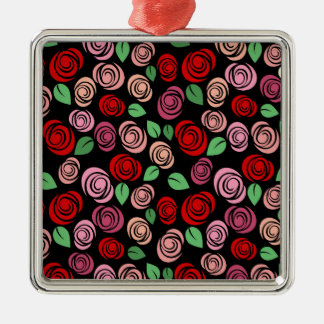 Red and pink roses Silver-Colored square decoration
