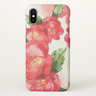 Red and Pink Soft Watercolor Roses iPhone X Case