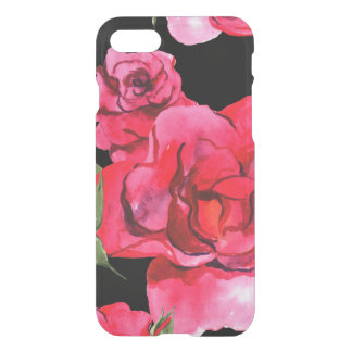 Red and Pink Soft Watercolor Roses on Black iPhone 8/7 Case