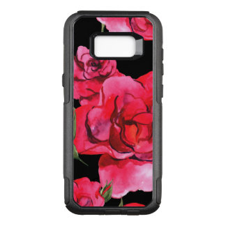 Red and Pink Soft Watercolor Roses on Black OtterBox Commuter Samsung Galaxy S8+ Case