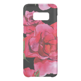Red and Pink Soft Watercolor Roses on Black Uncommon Samsung Galaxy S8 Case