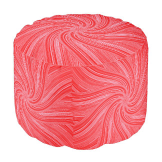 Red and Pink Spiral  Print Pouf