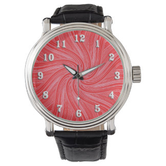 Red and Pink Spiral  Print Wristwatches