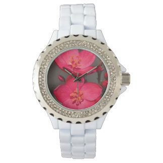 Red and Pink Tropical Fiji Flowers Wristwatch