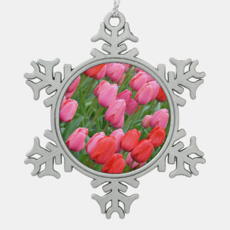 Red and pink tulips christmas ornament