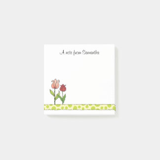 Red and Pink Tulips Personalized 3 x 3 Post-it Notes