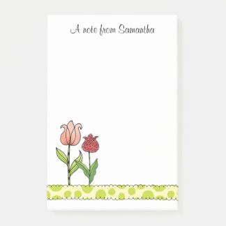 Red and Pink Tulips Personalized 4 x 6 Post-it Notes