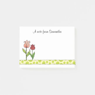 Red and Pink Tulips Personalized Post-it Notes