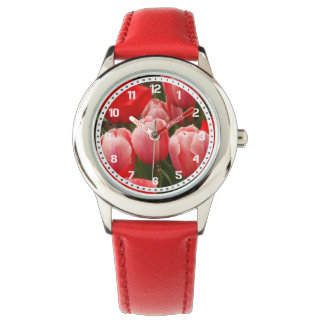 Red and Pink Tulips Watch