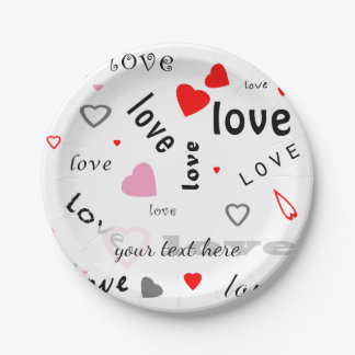 red and pink typography text design love hearts 7 inch paper plate