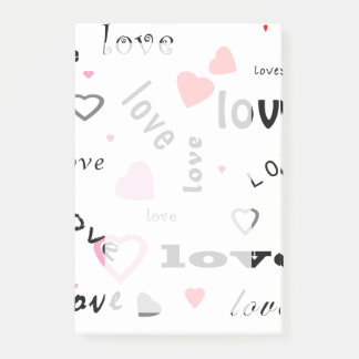 red and pink typography text design love hearts post-it notes