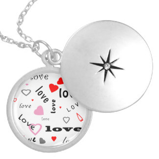 red and pink typography text design love hearts silver plated necklace