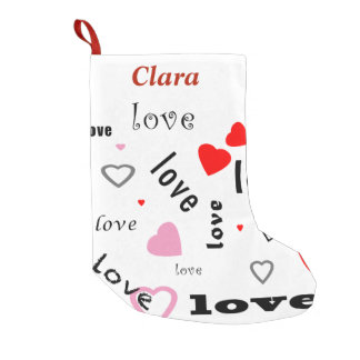 red and pink typography text design love hearts small christmas stocking