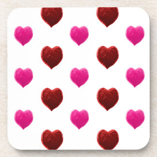 Red and Pink Valentine Hearts Beverage Coasters