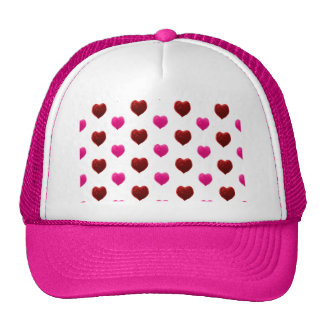 Red and Pink Valentine Hearts Mesh Hats