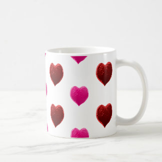 Red and Pink Valentine Hearts Coffee Mugs