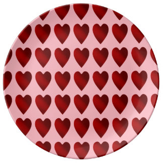 Red and pink Valentines Day hearts Plate
