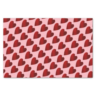 Red and pink Valentines Day hearts Tissue Paper