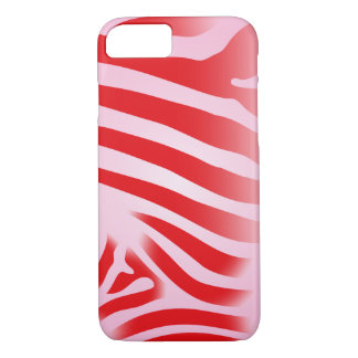 Red and Pink Zebra Print Stripes iPhone 7 Case