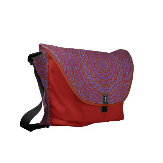 Red and Purple Circles Patterned Messenger Bag