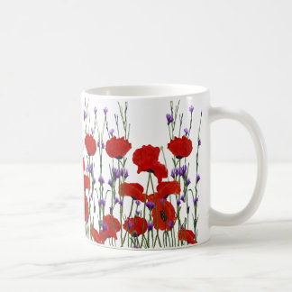 Red and Purple Flowers, Poppies, Bachelor Buttons Coffee Mug