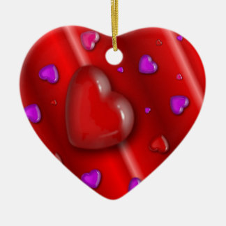 Red and Purple Hearts Valentines Ceramic Heart Decoration