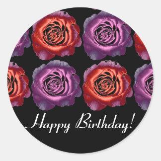 Red and Purple Metallic Roses Birthday Sticker