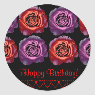 Red and Purple Metallic Roses Birthday Sticker
