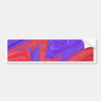 Red and Purple Spiral Waves Abstract Art Design Car Bumper Sticker