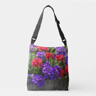 Red and Purple Verbena Flowers Crossbody Bag
