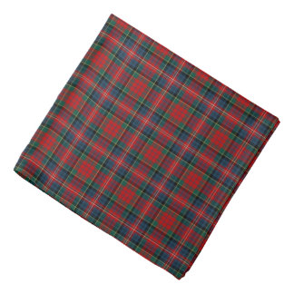 Red and Royal Blue MacPherson Clan Scottish Plaid Bandana