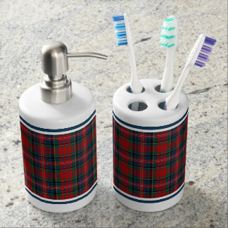 Red and Royal Blue Plaid Clan MacPherson Tartan Soap Dispenser And Toothbrush Holder