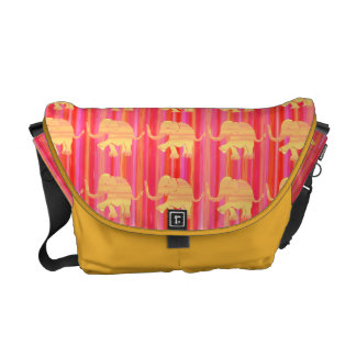 Red and Saffron Yellow Elephant Parade on Stripes Commuter Bag