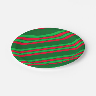 Red and Shades of Green Stripes Paper Plate