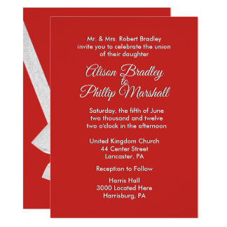 Red and Silver Bow Wedding Invitation