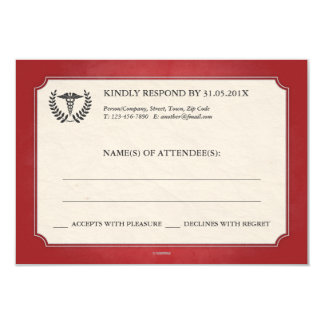 Red and Silver Caduceus Medical Event RSVP Card