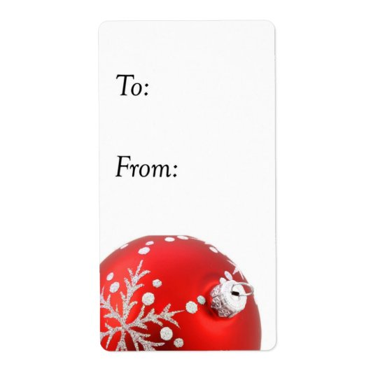 Red and Silver Christmas Ornament Gift Tag