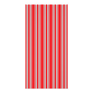 Red and Silver Christmas Stripes Picture Card