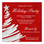 Red and Silver Christmas Tree Holiday Party Personalized Invitation