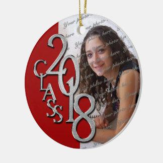 Red and Silver Class 2018 Graduation Senior Photo Ceramic Ornament