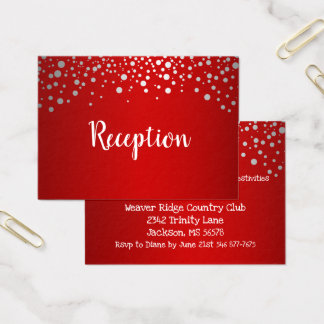 Red and Silver Confetti Dots - Reception Business Card