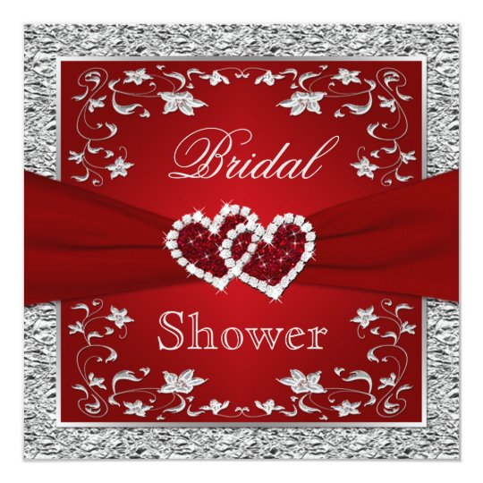 Red and Silver Floral, Hearts Bridal Shower Card