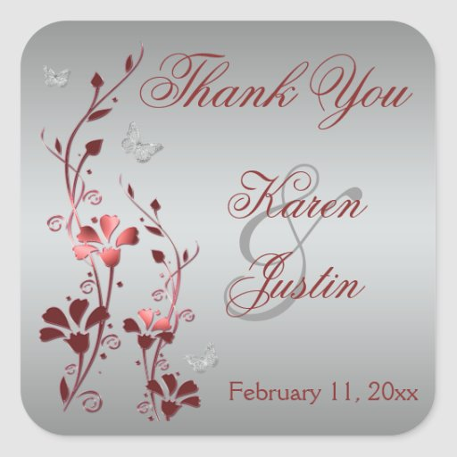 Red and Silver Floral Wedding Favor Sticker
