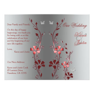 Red and Silver Floral Wedding Program 21.5 Cm X 28 Cm Flyer