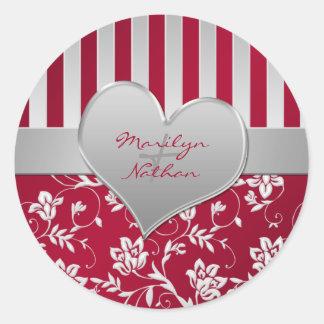 "Red and Silver Heart 1.5"" Round Wedding Sticker"