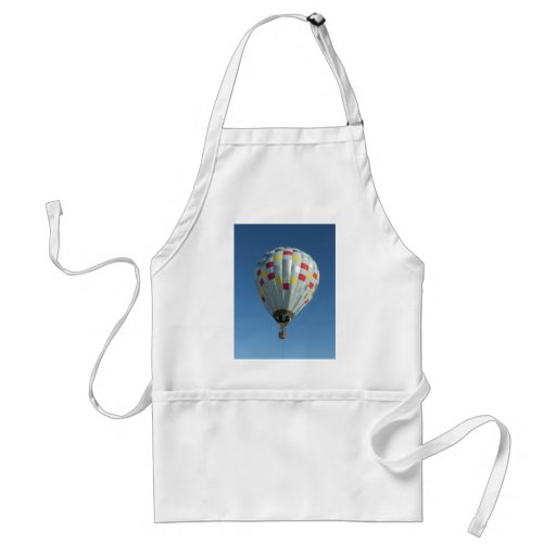 red and silver hot air balloon apron